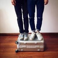 铝框拉杆箱万向轮24寸学生密码登机箱20旅行箱包男行李箱女26寸30 白色 高端款