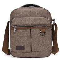 男士休闲包商务旅行包竖款小包包单肩包斜挎帆布潮男包IPAD手提包