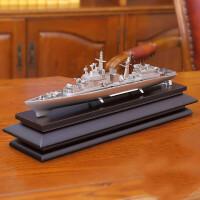 军舰模型帆船办公摆件 工艺品船 金属战舰军事商务会议礼品