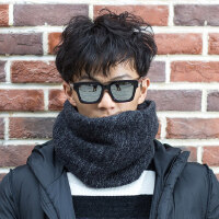 围脖男保暖学生韩版百搭简约毛线围巾针织护颈脖套