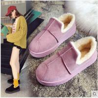 秋冬季新款韩版原宿加绒保暖面包二棉鞋女防滑百搭学生雪地靴