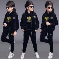儿童男孩运动洋气帅气衣服三件套潮童装男童冬装套装