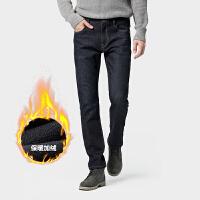 骆驼男装 2019冬季新款加绒牛仔裤男士韩版直筒宽松潮流休闲长裤