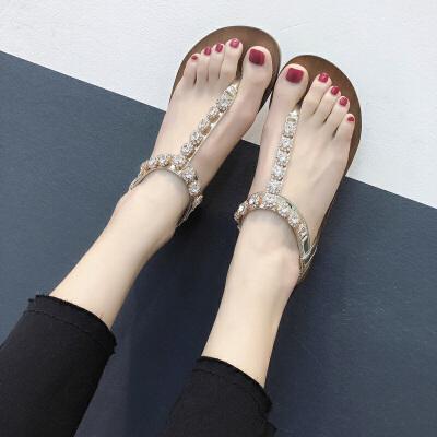 人字拖女夏外穿平底凉拖水钻沙滩拖夹脚凉鞋