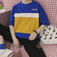 2018夏季韩版拼色男士纯棉短袖T恤青年港风圆领潮流体恤