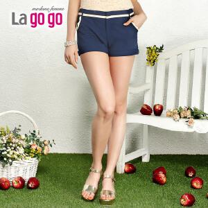 lagogo拉谷谷2014夏装新品时尚撞色花边口袋短裤