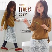 女童打底衫2017秋季新款韩版童装中大童纯棉开叉长袖T恤儿童上衣