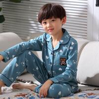 男童睡衣春秋季薄款长袖纯棉儿童睡衣男孩全棉小孩大童家居服套装