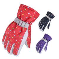 户外加厚耐磨骑行手套 新款防风防水保暖棉手套 防滑印花女士滑雪手套
