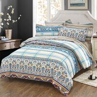 当当优品家纺 纯棉斜纹印花床品 双人床单四件套 英伦浪漫