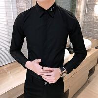 大码黑色长袖衬衫村杉纯色工装寸衫男士衬衣修身衣领刺绣商务正装