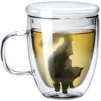 九土马克杯双层手工玻璃杯猫咪杯子女用猫杯艺术茶水杯办公咖啡杯