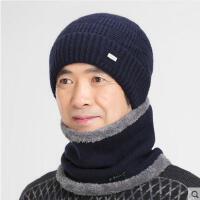 中老年男士针织帽帽子男老人包头帽骑车防寒帽护耳毛线帽围脖
