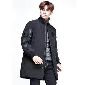 2017新款雅鹿冬款男装时尚中长款拼接羽绒服男外套 YS6107050