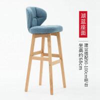 实木吧台椅北欧吧椅现代简约高脚凳棉麻靠背酒吧椅子家用吧台凳子