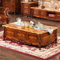 茶几实木大理石面茶几组合电视柜套装仿古色茶桌柚木色家具 1.8m*1.0m (雨林啡大理石) 整装