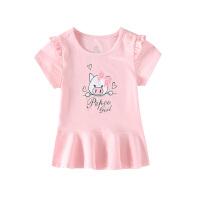 小猪班纳童装女童圆领短袖T恤2020春夏新款小女孩卡通针织衫