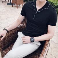 气质男士T恤时尚夜店保罗衫发型师夏polo衫男短袖修身条纹翻领潮