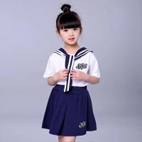 新款儿童小海军水手表演服幼儿园园服班服少儿运动会演出服装 女童白色 女童