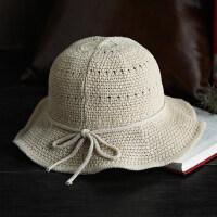 可折叠休闲旅行太阳帽甜美小清新遮阳帽凉帽子简约小沿盆帽女
