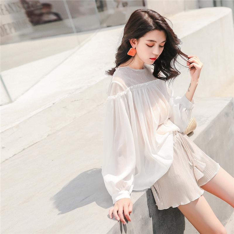 七格格 夏装新款女雪纺衫白色一字肩网纱打底衫遮肚子上衣甜美春