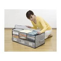 卡秀促销 65L竹炭衣物整理收纳箱 大三格透明窗