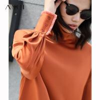 【折后价:156元/再叠300-30元券】Amii极简温柔风高领落肩袖衬衫洋气冬新款流苏袖纯色套头衬衫