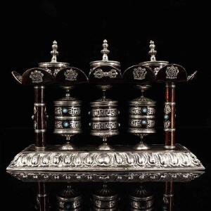 尼泊尔收纯手工打造镶嵌宝石紫铜鎏银吉祥八宝转经轮 时来运转