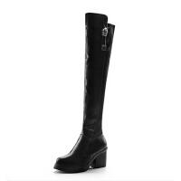 秋冬新款弹力布过膝靴长靴粗跟靴子女长筒靴骑士靴高跟马丁靴