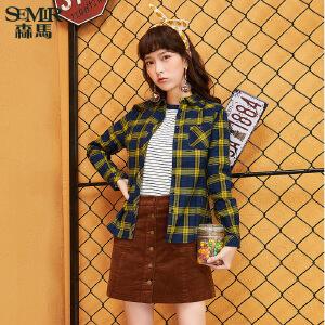 森马长袖衬衫 冬装 女士方领格子合体直筒休闲衬衣韩版潮