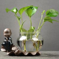 办公装饰摆件创意绿萝水培植物透明玻璃花瓶容器水养花盆器皿客厅