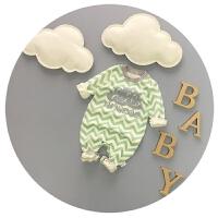 婴儿连体衣春秋纯棉宝宝春装0-3-6个月新生儿外出服可开裆韩版潮