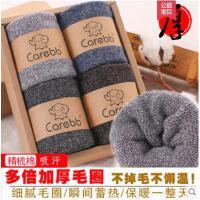 冬季加厚加绒袜子男士老人保暖袜睡眠袜中筒纯棉毛圈袜毛巾袜防臭