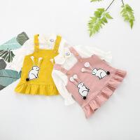 春款女童公主洋气可爱背带裙子套装女宝宝时尚春装婴儿衣服3潮1岁