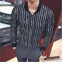 新款波浪竖条纹型男长袖衬衫韩版修身发型师夜店衬衣工作服潮秋