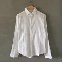 男士长袖衬衫沙滩上班族坊晒修身褶皱透气白色宽松薄棉麻春夏季