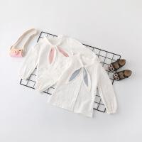 儿童韩版纯棉白衬衫女童春秋薄款长袖衬衣女宝宝公主春装5小童3岁