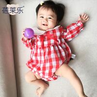 婴儿连体衣服宝宝新生儿春季0岁6个月三角长袖休闲哈衣春款
