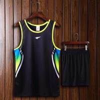 夏季田径服男女款训练套装田径背心短裤运动比赛服跑步舒适透气 1509 黑色 男装 30