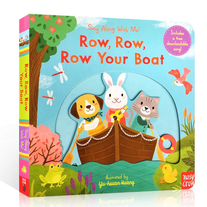 英文原版 Sing Along With Me Row Row Row Your Boat 欧美经典儿歌童谣纸板操作书 0-3岁幼儿启蒙认知亲子读物