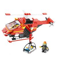 【当当自营】小鲁班急速火警系列儿童益智拼装积木玩具 消防直升机M38-B0218