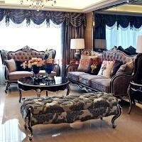 欧式沙发布艺沙发组合小户型客厅简约沙发实木雕花新古典沙发家具 套餐一:+++茶几