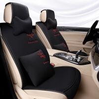 汽车坐垫四季通用半包围车垫子薄款座椅垫透气免绑布艺时尚车座垫
