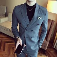 新款春装英伦风青年休闲双排扣西服型男韩版修身新郎西装潮流外套