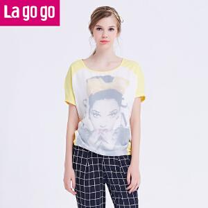 【618大促-每满100减50】lagogo拉谷谷秋季新款蝙蝠袖时尚宽松字母T恤
