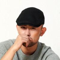 冬天男士帽子冬季时尚潮韩版保暖新款毛呢贝雷鸭舌帽子男