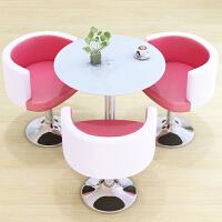 洽谈桌椅组合咖啡厅奶茶店桌椅钢化玻璃茶几桌小圆桌休闲接待桌椅 粉红色 粉白一桌三椅