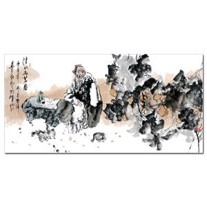 纯手绘四尺人物 岑涛《清秋品茗图》客厅中堂玄关装饰画