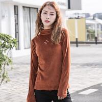 新款春季时尚韩版修身显瘦半高领绣花女士长袖t恤衫