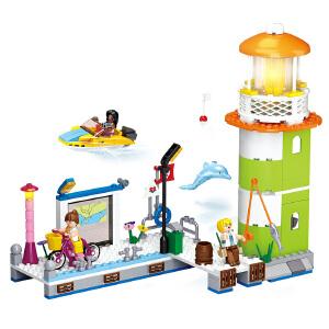 【当当自营】小鲁班新粉色梦想女孩海豚湾系列儿童益智拼装积木玩具 海豚湾码头M38-B0607